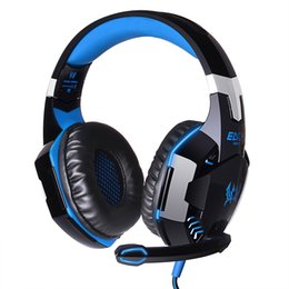Wholesale Hook Over Ear Headphones - EACH G2000 Over-ear Game Gaming Headset Earphone Headband Headphone with Mic Stereo Bass LED Light for PC Game DHL