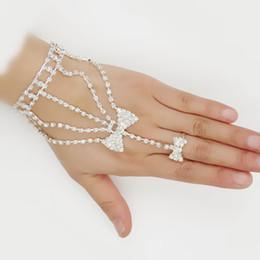Wholesale Rhinestone Slave Bracelet Jewelry - wedding Charming Lady Jewelry Bow Bracelet with Ring Chain Slave Rhinestone Wedding Bridal