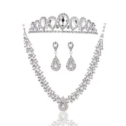 Wholesale Wedding Jewelry Sets Crowns - Gorgeous Water Drop Rhinestones Women Wedding Party Jewelry Set Including Earrings Necklace Imperial Crown Headpiece