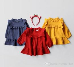 Wholesale Girls Simple Cotton Dresses - Ins Euro Fashion Girl Lolita Dress Round collar long sleeve solid color ruffles dress Autumn girl dress elegant simple style 100% Cotton