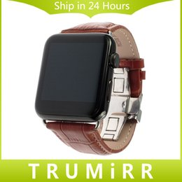 Wholesale Brown Leather Strap 24mm - Calf Genuine Leather Strap 22mm 24mm for iWatch Apple Watch 38mm 42mm Smartwatch Band Bracelet with Link Adapter Black Brown Red