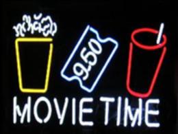 "Wholesale Red Theatre - Movie Time Popcorn Puffed Rice Drink Film Ticket Neon Sign Custom Handmade Glass Tube Cinema Theatre Drama Play Display Neon Signs 24""x20"""