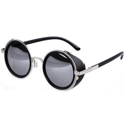 Wholesale Mens Circle Sunglasses - Wholesale-Summer Style Vintage Round Unisex Glasses Fashion Steampunk Metal Mens Womens Retro Circle Sunglasses 6 Colors GS-0207