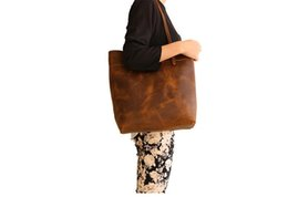Wholesale Crazy Shops - KISSUN Factory Crazy Horse Leather Unisex Tote Bag Shopping Bag Casual Style Big Capacity Top Layer Cowhide Luxury Women Handbag