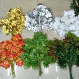 Wholesale Gold Leaf Supplies - Free shipping white red green gold silver maple leaf branch leaves artificial silk plant for home decor party supplies