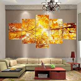 Wholesale Leaves Abstract Wall Art Panel - 5 Piece Modern Canvas Art Autumn Leave Cuadros Decoracion Canvas Oil Painting Art Wall Pictures For Living Room Pintura No Frame