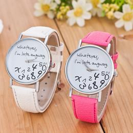 Wholesale Late Glass - 2016 Bracelet Watch Women Fashion Casual Clock Women Men Unisex Leather Watch Wathever I am Late Anyway Letter Print Relogio
