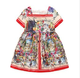 Wholesale american castles - 2016 Summer 100-150 Children Flora Castle Girls Dresses Princess Flowers Party Dress Clothing K7509