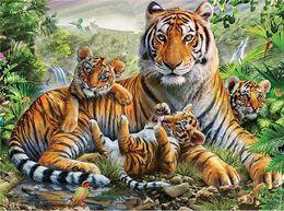 Wholesale Tiger Paintings Canvas - 5D Diamond Embroidery needlework diy Diamond painting Cross Stitch Kits animal tiger family full round diamond mosaic Room Decor yx1499