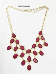 Wholesale Resin Statement Chain - Burgundy Stone Drop Necklace ivory faceted oval stone statement necklace black royal faceted stone bib necklace 21 metal settings