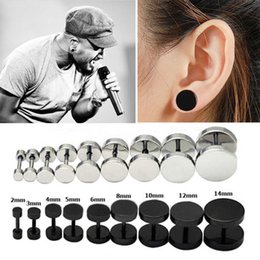 Wholesale Mens Punk Earrings - New Fashion Unisex Womens Mens Black Silver Barbell Punk Gothic Stainless Steel Ear Studs Earrings For Lovers
