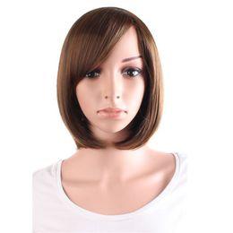 Wholesale Wig Black Cosplay Short - short straight Cosplay Wigs black dark Light Brown 4 colors 30cm women synthetic Heat Resistant hair peruca