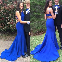 Wholesale Simple Square Open Back - Simple Style Royal Blue Dresses Evening Wear Mermaid Sweep Train Open Back Prom Gown Cutaway Side Evening Formal Gowns