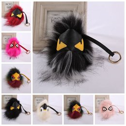 Wholesale Vogue Balls - Fur Monster Pom Pom Ball Bag Charm Car Key Chain Vogue Style Accessories 12 Colors 50pcs LJJO3481