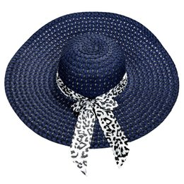 Wholesale Decorated Sun Hats - Wholesale- 2017 NEW Dark Blue Summer Exquisite Leopard Ribbon Bowknot Decorated Openwork Sun Hat For Women
