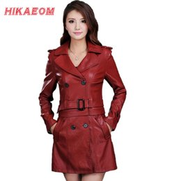 Wholesale ladies leather trench coat - Wholesale- Leather Jacket Women Top Fashion New Plus Size Slim Dual Use Pu Removable Ladies Faux Synthetic Long Leather Trench Coat Female