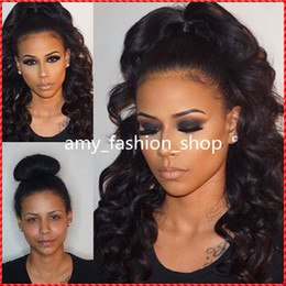 Wholesale Blonde Short Ponytail Wig - Unprocessed virgin high ponytail full lace wig Peruvian glueless full lace curly human hair wigs lace front wigs with baby hair