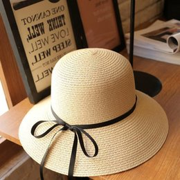 Wholesale Travel Straw Hats - Wholesale- Women Fashion Summer Straw Hat Sun Hat Folding Travel Beach Cap With Lovely Bow Beige Color Free Shipping