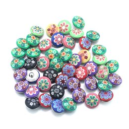 Wholesale Random Buttons - 50pcs lot Random Delivery colorful flowers 18mm plastic snap Button jewelry for DIY bangle& bracelets M237 one direction jewelry making