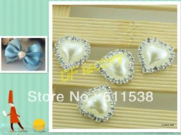Wholesale Pearl Bow Phone Cases - 22mm heart shaped pearl sticker for phone case, flat back rhinestone decoration for handmade robbon bow(20  lot M69109