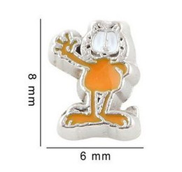 Wholesale Garfield Cartoon - 20PCS lot Cartoon Character Garfield Cat Alloy Floating Locket Charms Fit For DIY Magnetic Glass Living Memory Locket Fashion Jewelrys
