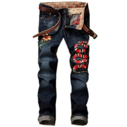 Wholesale Runway Designers - 2018 Italian luxury brand men jeans Distressed Ripped Jeans High quality Fashion Designer Straight Motorcycle Biker Runway Rock Star Jeans