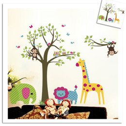Wholesale Owl Monkey Room Decor - Removable wall stickers children's bedroom decoration stickers owl monkey zoo giraffe stickers home decor art