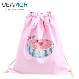 Wholesale Dogs Clothes Shoes - Wholesale- VEAMOR Girls Travel Shoulders Shoes Bags Watermelon Cat Dog Pengui Handbags Drawstring Backpack Schoolbags Storage Bags WB339