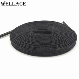 Wholesale Red Flat Shoelaces - Wellace Unisex 100% Cotton Waxed Shoe Laces waterproof shoelaces for Casual shoes boots Flat wax widen Shoelaces 150cm 59''