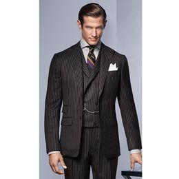 Custom Made Black Stripe Pattern Uomo Vestito formale skinny Prom Gentle Classic personalizzato Uomo Blazer 3 pezzi (Jacket + Pants + Vest) G582 da