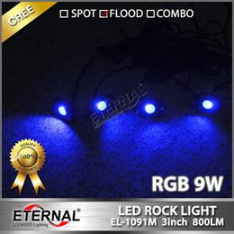 Wholesale Truck Lamps Green - free shipping-wireless remote 4pcs set mini RGB LED rock light Off Road ATV golf cart Truck Vehicle Rock Crawler rock lamp