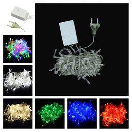 string lights connectors Coupons - 100 LEDs LED String Lights 10M 110V 220V for Clear Wire Christmas decoration With Connector X'mas holiday lights