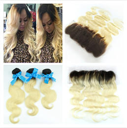 Wholesale two color frontal closure - Brazilian Blonde Ombre Hair With Lace Frontal Closure 13x4 Body Wave 1B 613 Two Tone Colored Brazilian Human Hair 3bundles With Frontals