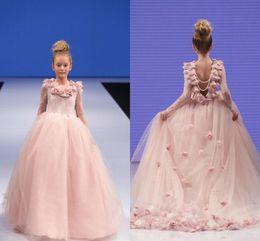 2019 rosa bonito meninas pageant vestidos de apliques de jóias de renda pescoço tule varrer trem aberto voltar crianças meninas vestido de aniversário vestidos de comunhão de