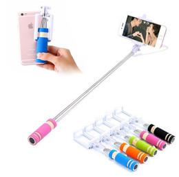 palos de plástico para selfie Rebajas Mini S3 Selfie Stick Monopod con ranura de cable Obturador incorporado Stick Selfie extensible para iPhone Samsung Cualquier cámara de teléfonos con paquete minorista