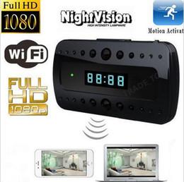 Wholesale Wireless Spy Night Camera - Spy camera wireless LCD clock Camera Night vison 1080P HD Wifi Hidden Cameras Mini Camcorders P2P Clock H.264 Video recorder motion detect