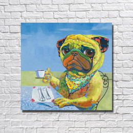 Wholesale Old Canvas Paintings - Free shipping old master hand painted large size cheap modern paintings abstract cartoon dog eating decorative wall painting
