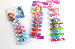 Wholesale Hairbows Character - Free DHL Cartoon Frozen Anna Elsa Hairbows hair ring Kids Girl Children's hair rope hairband children's hair bands