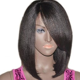 Wholesale Yaki Full Lace Wigs Sale - Peruvian Italian Yaki Straight Bob Wigs Top Sale Light Yaki Straight Short Bob Full Lace Wigs Human Hair Lace Front Wigs Side Part