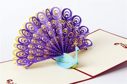 Wholesale Peacock Birthday Party - Creative 3D greeting cards Three-dimensional paper carving peacocks invitation card Birthday wedding etc party invitation card