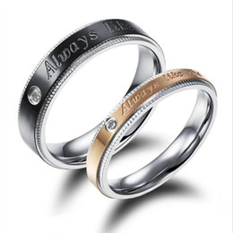 Wholesale Ring Wedding Pair Gold - 1 Pair Price Couple Wedding Party Rings Classical Black Gold Plated Stainless Steel Women Men Jewelry Bands gdf453
