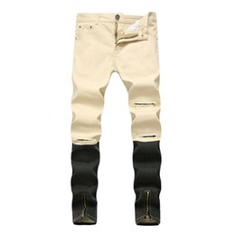Wholesale Modern Jeans - 2017 New Men's Jeans Biker Skinny Ripped Cotton Jeans Pants With Gold Zipper Streetwear Distreysed Denim Trousers Plus Size 28-40 Free Ship