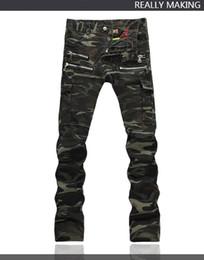 Wholesale Jeans Pant Folding - 2016 Hot Mens Males classic Fold Style Top Quality Punk Rock Nightclub DS DJ Camo Bags pant Men's Slim jeans Hairstylist Multi-zipper pants