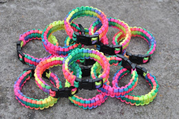Wholesale Rainbow Parachute - Free shipping 2016 colorful rainbow neon parachute cord camping survival paracord bracelet with plastic buckle 2016 cheap party jewelry