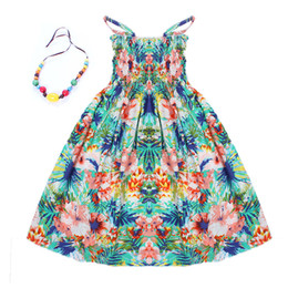 Wholesale White Sundresses For Beach - 2017 New 2-12Y summer children clothing free necklace bohemian girls dresses fashion kids sundresses beach dress for girls