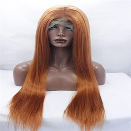 Wholesale Dark Brown Hair Fiber - lace front wigs mixed peach pink natural wave synthetic lace front wigs with middle parting glueless heat resistant fiber hair kabell wigs