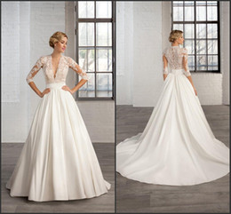 Wholesale Sexy Red Banded Dress - 2016 A Line Satin Wedding Dresses 3 4 Long Sleeve Sheer Deep V Neck Appliques Cosmobella 7746 Court Train Ruched Band Bridal Gowns