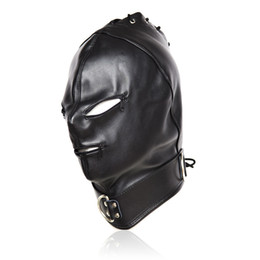 Wholesale Sexy Games For Adult - Adult Games Zipper Mouth Faux Leather Sex Mask Sexy Fetish Bondage Mask Hood With Lock Sex Toys For Couples Erotic Toys