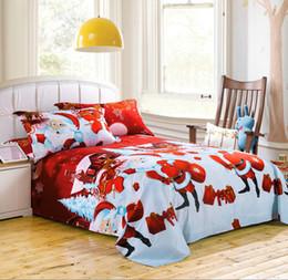 Wholesale Crib Bedding Sets Wholesale - 3D Bedding Set Christmas Santa Claus Bed Sheets Duvet Cover Pillowcase Designer Home Textile Fashion Red Blue New