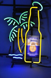 Wholesale Corona Beer Signs - Corona Extra Bottle Palm Tree Glass Neon Sign Beer light